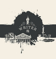 banner on a writers theme in vintage style vector image