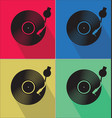 black vinyl record disc flat concept background vector image vector image