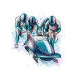 bobsleigh for four athletes from splash of vector image vector image