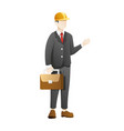 businessman wear construction helmet and carry vector image vector image