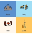 Canadian National Symbols Icons Set vector image