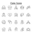 Care icons set in thin line style