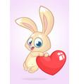 cartoon cute bunny rabbit holding a heart love vector image vector image