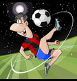 cartoon joyful football player kicks the ball on vector image