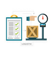 checklist and box over scales logistic shipping vector image vector image