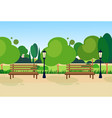 city park wooden bench street lamp green lawn vector image