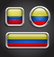 Colombia flag glass buttons vector image