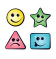 color smiley faces emoji icons vector image