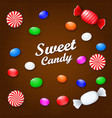 colored candies sweets and lollipops on a brown vector image vector image