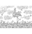 coloring page with doodle style flamingo in the vector image vector image