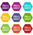 data connect icons set 9 vector image vector image