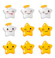 emotional angel stare cute faces smiles set vector image