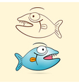 Fish With Teeth Blue Fish and Brown Outlined vector image vector image