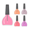 five bright nail varnishes vector image