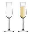 full and empty champagne glasses vector image vector image