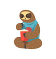funny sloth eating lazy exotic rainforest animal vector image vector image