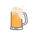 glass mug with handle full light beer with foam vector image