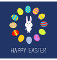 Happy Easter Cute bunny rabbit Round frame Flat vector image