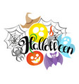 happy halloween hand drawn lettering text banner vector image vector image