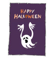 happy halloween with cute white ghost on purple vector image