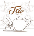 hot tea cups with kettle vector image vector image