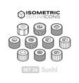 Isometric outline icons set 26 vector image vector image