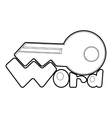 Key icon outline style vector image