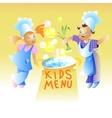 Kids Menu Card Design Child cartoon vector image