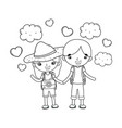 little tourist kids couple in landscape scene vector image vector image