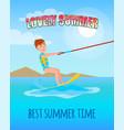 lovely summer best summertime poster kitesurfing vector image