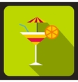 Martini glass of cocktail with umbrella icon vector image