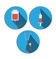 medicine icon flat set world blood donor day vector image vector image
