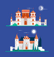medieval ancient castle buildings flat icons set vector image vector image