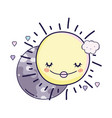 moon and sun cartoons vector image vector image