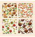 nut seamless pattern nutshell of hazelnut vector image
