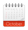 october 2019 calendar leaf template vector image