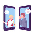 online date mobile chatting or conversation of vector image