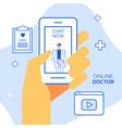 online doctor concept mobile application for vector image