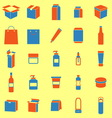 Packaging color icons on yellow background vector image vector image