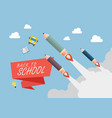 pencil rockets fly into the sky vector image