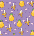 pineapple and bananas background vector image