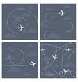 plane flight with dotted trace airplane vector image