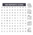 reports editable line icons 100 set vector image