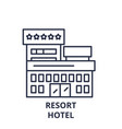 resort hotel line icon concept resort hotel vector image vector image