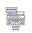resort hotel line icon concept resort hotel vector image