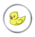 Rubber duck toy icon in cartoon style isolated on vector image