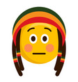 serious emoji with a reggae hat vector image vector image