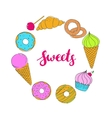 Set of hand drawn food sweets vector image vector image
