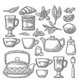 set tea black vintage engraving isolated vector image vector image