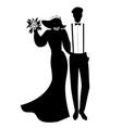 silhouettes of newlyweds couple wearing wedding vector image vector image